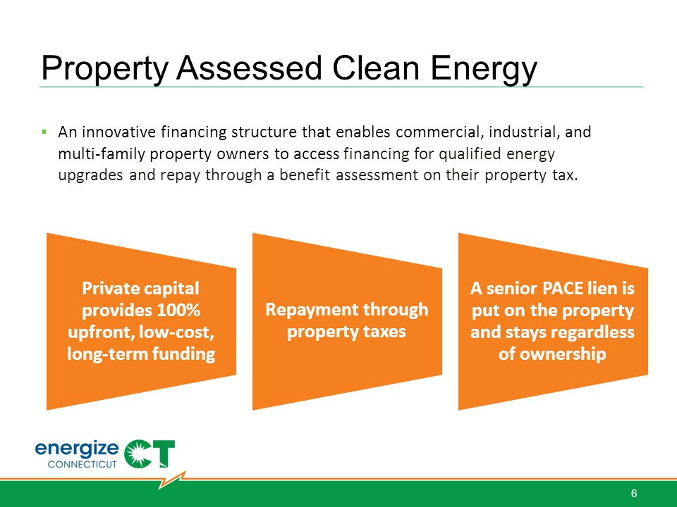 Property Assessed Clean Energy ▪ An innovative financing structure that enables commercial, industrial, and multi-family property owners to access financing for qualified energy upgrades and repay through a benefit assessment on their property tax.