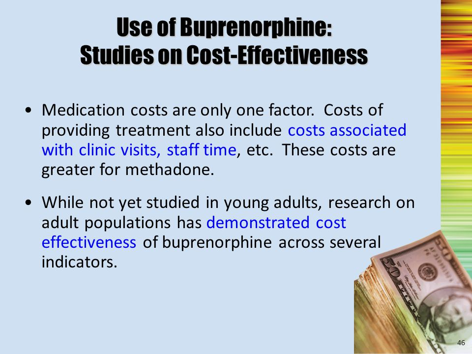 Use of Buprenorphine: Studies on Cost-Effectiveness Medication costs are only one factor.