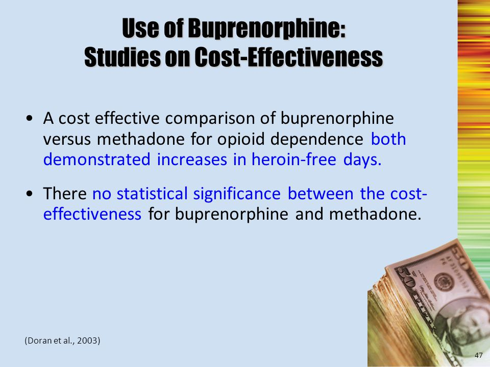 Use of Buprenorphine: Studies on Cost-Effectiveness A cost effective comparison of buprenorphine versus methadone for opioid dependence both demonstrated increases in heroin-free days.