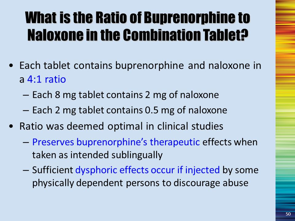 What is the Ratio of Buprenorphine to Naloxone in the Combination Tablet.