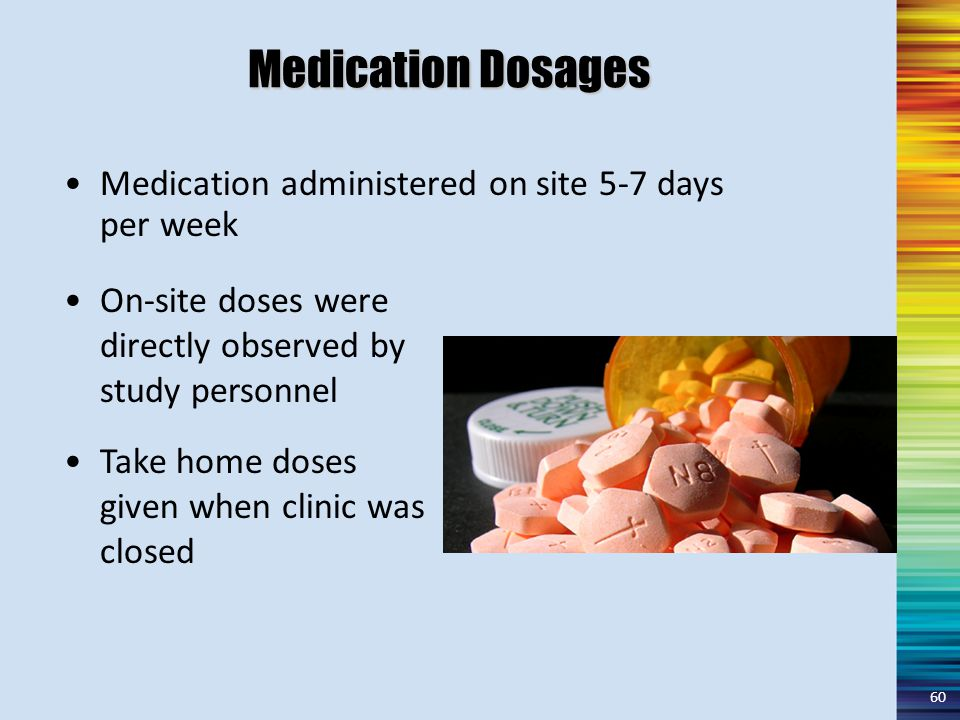 Medication Dosages On-site doses were directly observed by study personnel Take home doses given when clinic was closed Medication administered on site 5-7 days per week 60