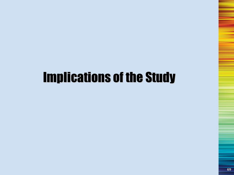 Implications of the Study 69
