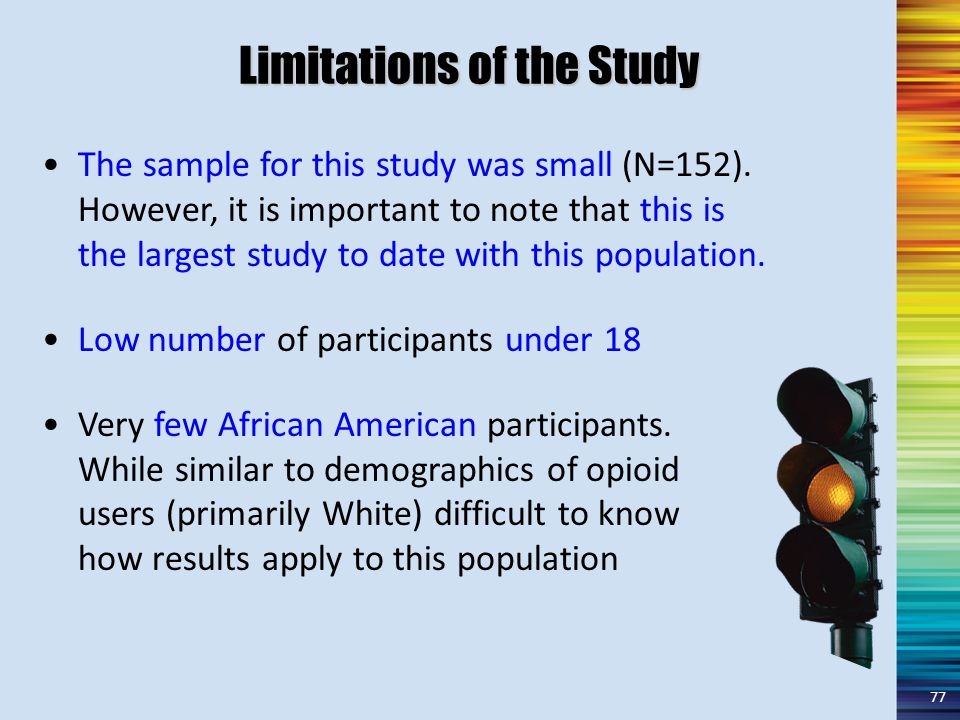 Limitations of the Study The sample for this study was small (N=152).
