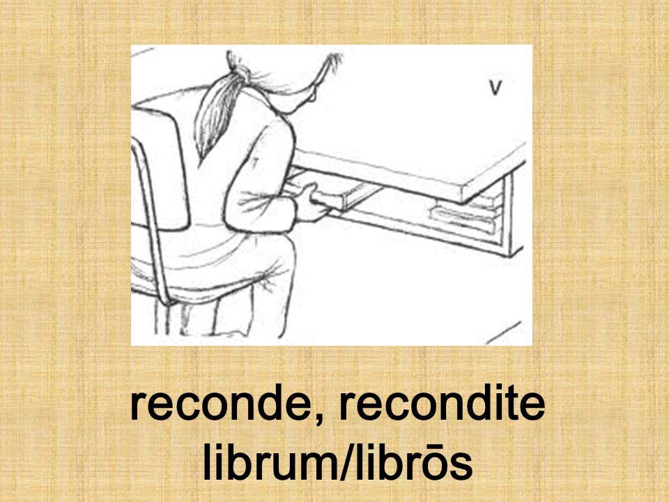 reconde, recondite librum/librōs