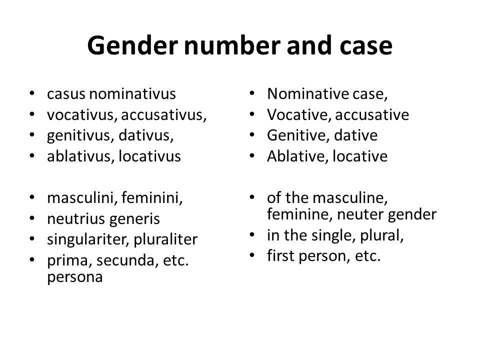 Gender number and case casus nominativus vocativus, accusativus, genitivus, dativus, ablativus, locativus masculini, feminini, neutrius generis singul