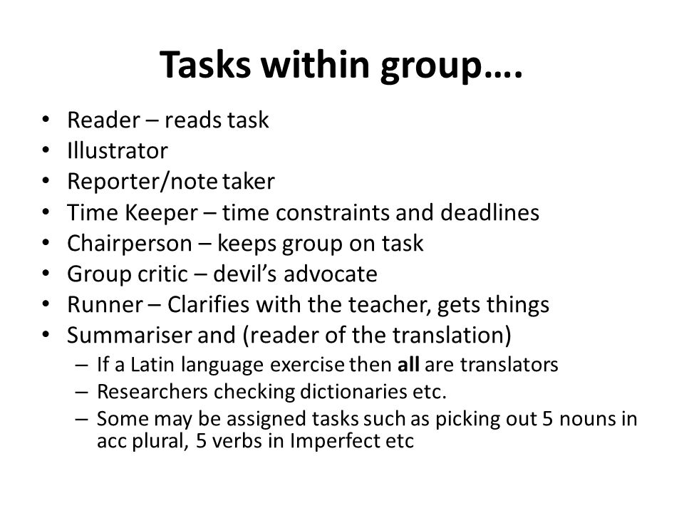 Tasks within group….