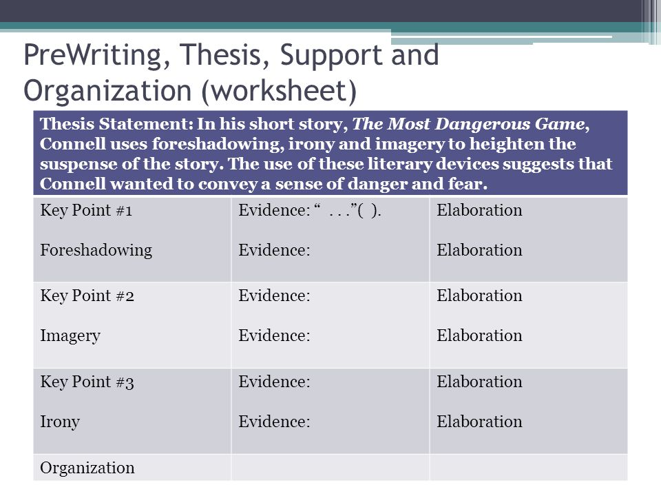 PreWriting, Thesis, Support and Organization (worksheet) Thesis Statement: In his short story, The Most Dangerous Game, Connell uses foreshadowing, ir