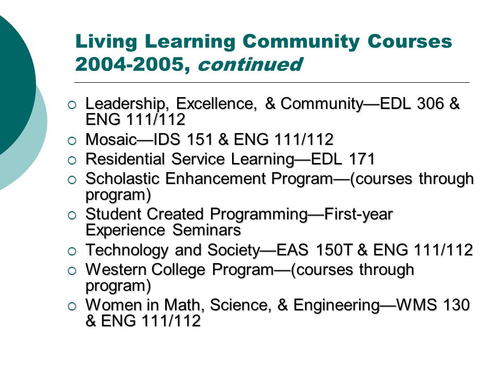 Living Learning Community Courses 2004-2005, continued  Leadership, Excellence, & Community—EDL 306 & ENG 111/112  Mosaic—IDS 151 & ENG 111/112  Residential Service Learning—EDL 171  Scholastic Enhancement Program—(courses through program)  Student Created Programming—First-year Experience Seminars  Technology and Society—EAS 150T & ENG 111/112  Western College Program—(courses through program)  Women in Math, Science, & Engineering—WMS 130 & ENG 111/112