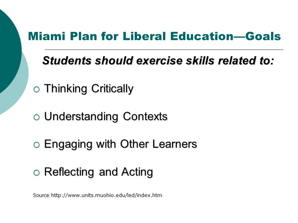 Miami Plan for Liberal Education—Goals Students should exercise skills related to:  Thinking Critically  Understanding Contexts  Engaging with Other Learners  Reflecting and Acting Source: http://www.units.muohio.edu/led/index.htm