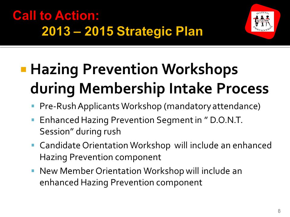 8  Hazing Prevention Workshops during Membership Intake Process  Pre-Rush Applicants Workshop (mandatory attendance)  Enhanced Hazing Prevention Segment in D.O.N.T.