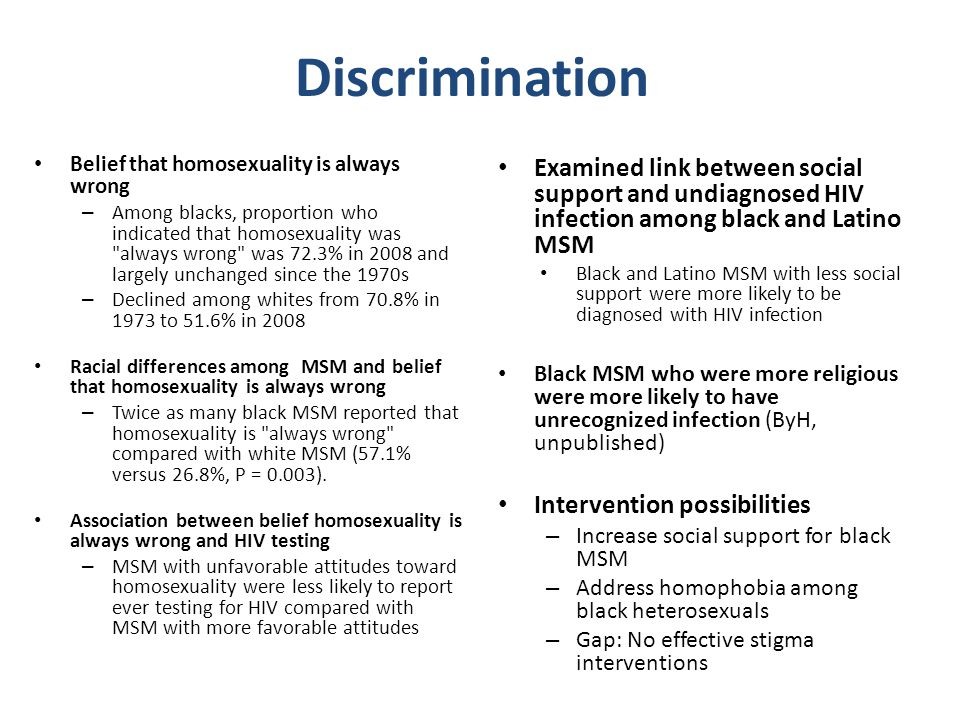 Discrimination Belief that homosexuality is always wrong – Among blacks, proportion who indicated that homosexuality was always wrong was 72.3% in 2008 and largely unchanged since the 1970s – Declined among whites from 70.8% in 1973 to 51.6% in 2008 Racial differences among MSM and belief that homosexuality is always wrong – Twice as many black MSM reported that homosexuality is always wrong compared with white MSM (57.1% versus 26.8%, P = 0.003).