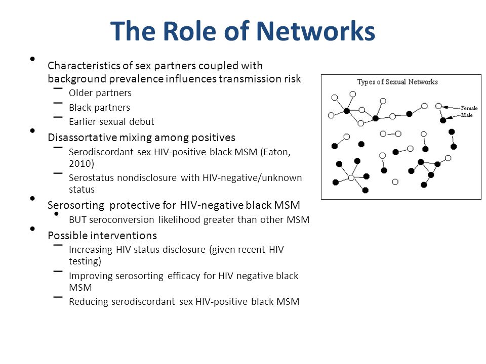 The Role of Networks Characteristics of sex partners coupled with background prevalence influences transmission risk – Older partners – Black partners