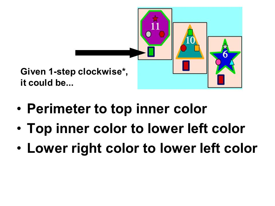 Perimeter to top inner color Top inner color to lower left color Lower right color to lower left color Given 1-step clockwise*, it could be...