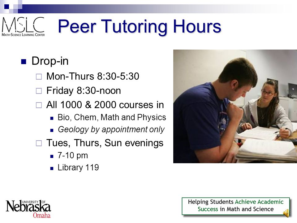 Center Usage Daytime and evening hours  ~1300 student-visits per week  ~30 undergraduate student tutors Collectively work ~200 hours/week Summer  ~500 student-visits per week
