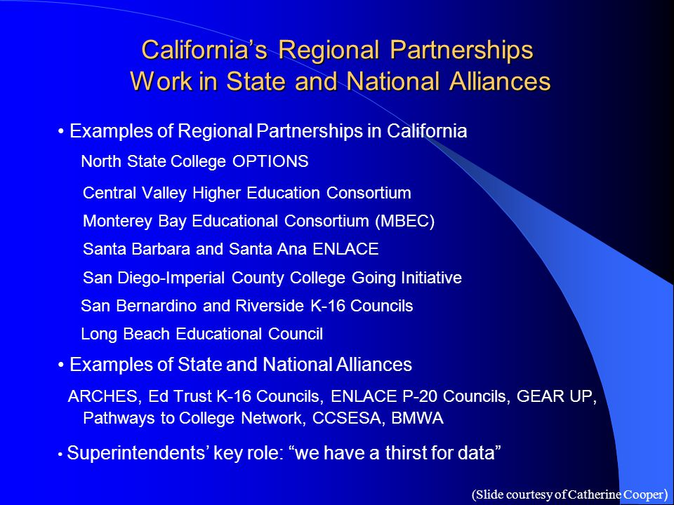 Examples of Regional Partnerships in California North State College OPTIONS Central Valley Higher Education Consortium Monterey Bay Educational Consor