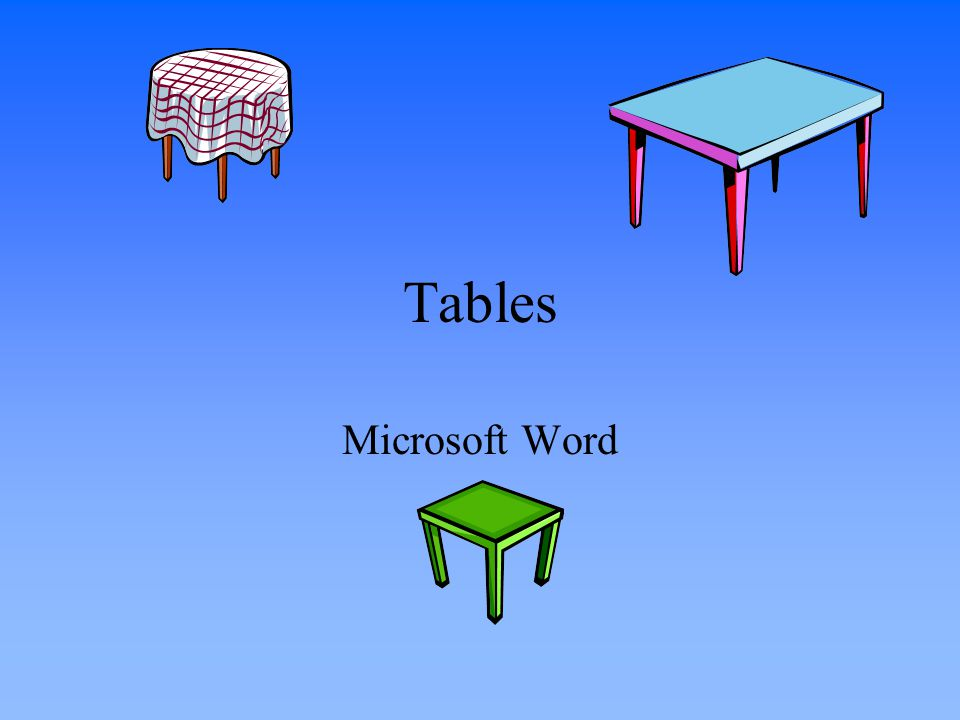 Tables Microsoft Word