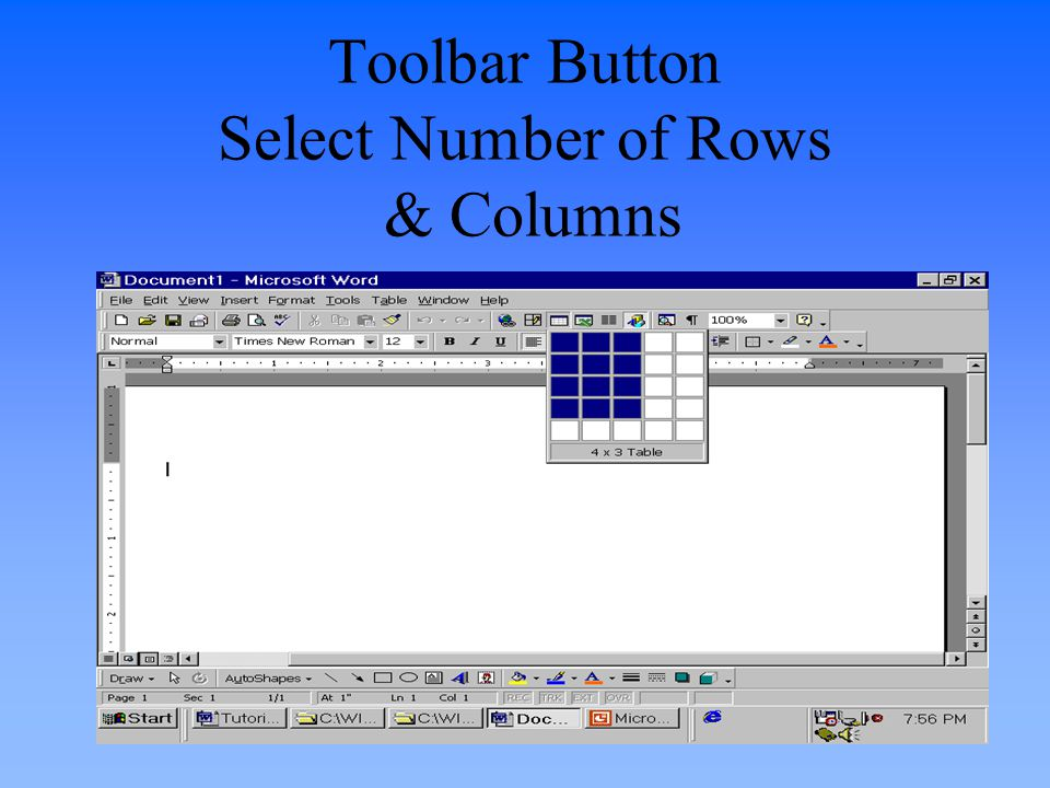 Toolbar Button Select Number of Rows & Columns