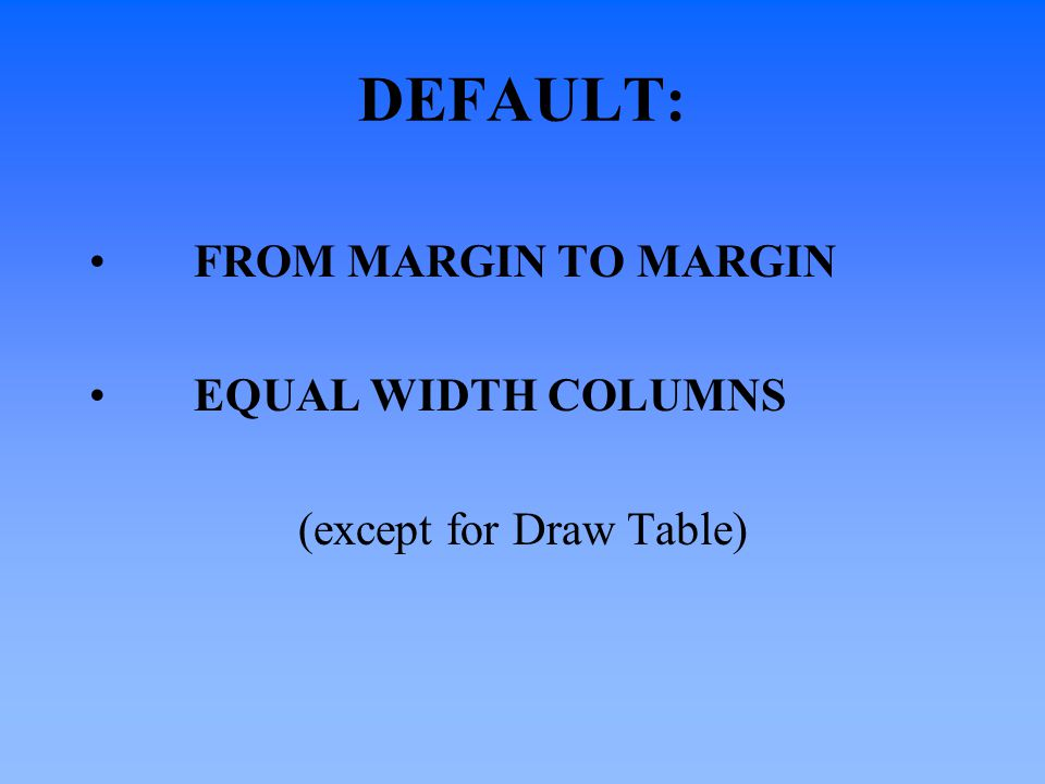 DEFAULT: FROM MARGIN TO MARGIN EQUAL WIDTH COLUMNS (except for Draw Table)