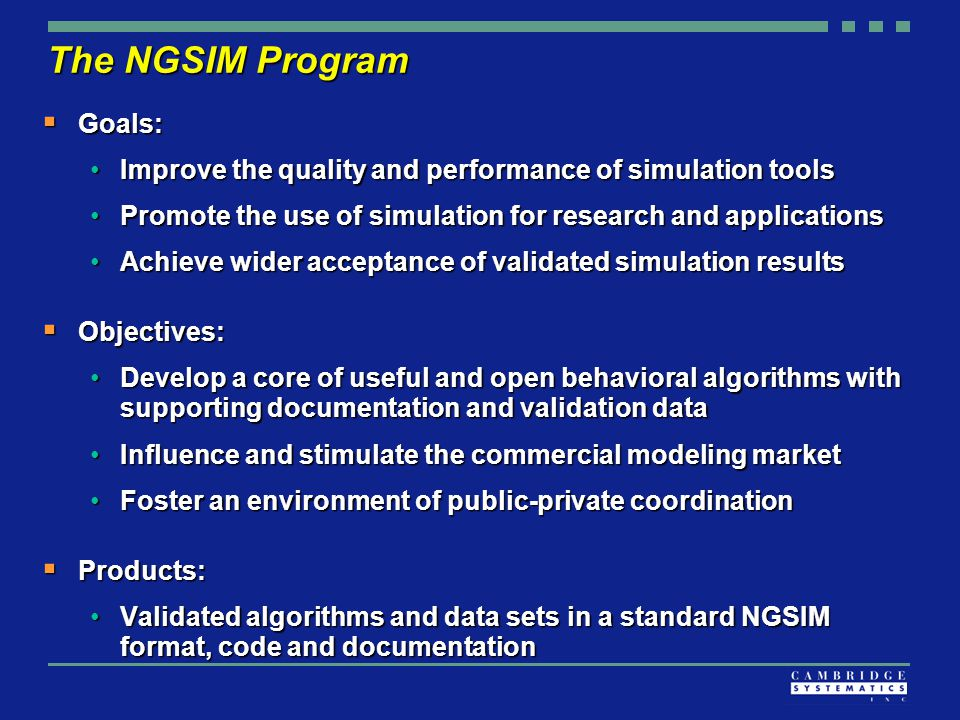 The NGSIM Program  Goals: Improve the quality and performance of simulation toolsImprove the quality and performance of simulation tools Promote the use of simulation for research and applicationsPromote the use of simulation for research and applications Achieve wider acceptance of validated simulation resultsAchieve wider acceptance of validated simulation results  Objectives: Develop a core of useful and open behavioral algorithms with supporting documentation and validation dataDevelop a core of useful and open behavioral algorithms with supporting documentation and validation data Influence and stimulate the commercial modeling marketInfluence and stimulate the commercial modeling market Foster an environment of public-private coordinationFoster an environment of public-private coordination  Products: Validated algorithms and data sets in a standard NGSIM format, code and documentationValidated algorithms and data sets in a standard NGSIM format, code and documentation