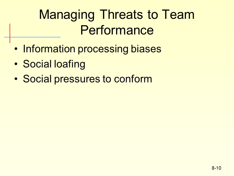 8-10 Managing Threats to Team Performance Information processing biases Social loafing Social pressures to conform