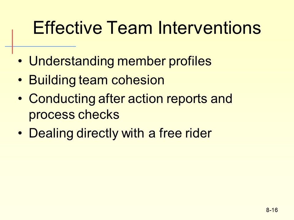 8-16 Effective Team Interventions Understanding member profiles Building team cohesion Conducting after action reports and process checks Dealing directly with a free rider