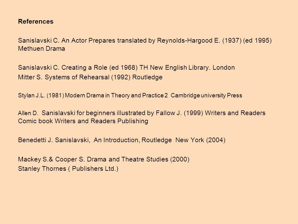 References Sanislavski C. An Actor Prepares translated by Reynolds-Hargood E.