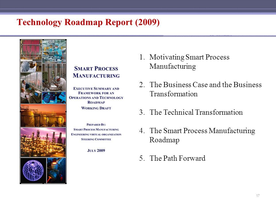 Technology Roadmap Report (2009) 1.Motivating Smart Process Manufacturing 2.The Business Case and the Business Transformation 3.The Technical Transfor