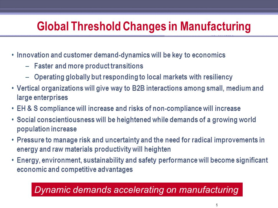 5 Global Threshold Changes in Manufacturing Innovation and customer demand-dynamics will be key to economics – Faster and more product transitions – O