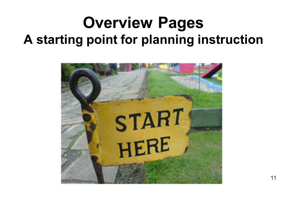 Overview Pages A starting point for planning instruction 11