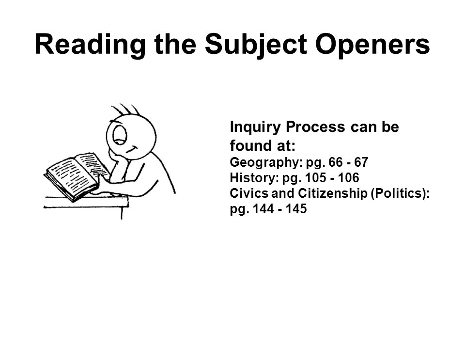 Reading the Subject Openers Inquiry Process can be found at: Geography: pg.