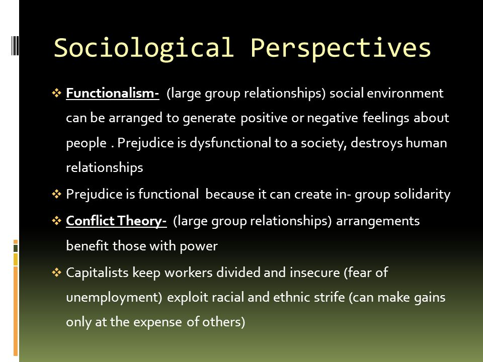 Sociological Perspectives  Functionalism- (large group relationships) social environment can be arranged to generate positive or negative feelings ab