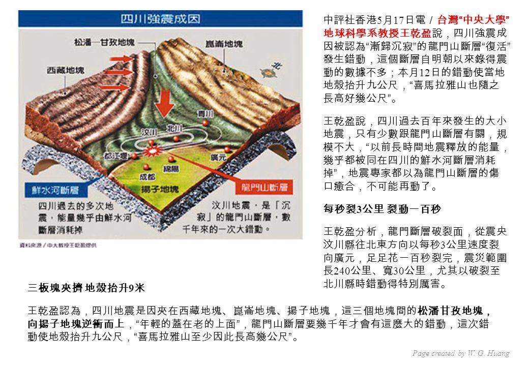 中評社香港 5 月 17 日電/台灣 中央大學 地球科學系教授王乾盈說,四川強震成 因被認為 漸歸沉寂 的龍門山斷層 復活 發生錯動,這個斷層自明朝以來錄得震 動的數據不多;本月 12 日的錯動使當地 地殼抬升九公尺, 喜馬拉雅山也隨之 長高好幾公尺 。 王乾盈說,四川過去百年來發生的大小 地震,只有少數跟龍門山斷層有關,規 模不大, 以前長時間地震釋放的能量, 幾乎都被同在四川的鮮水河斷層消耗 掉 ,地震專家都以為龍門山斷層的傷 口癒合,不可能再動了。 每秒裂 3 公里 裂動一百秒 王乾盈分析,龍門斷層破裂面,從震央 汶川縣往北東方向以每秒 3 公里速度裂 向廣元,足足花一百秒裂完,震災範圍 長 240 公里、寬 30 公里,尤其以破裂至 北川縣時錯動得特別厲害。 三板塊夾擠 地殼抬升 9 米 王乾盈認為,四川地震是因夾在西藏地塊、崑崙地塊、揚子地塊,這三個地塊間的松潘甘孜地塊, 向揚子地塊逆衝而上, 年輕的蓋在老的上面 ,龍門山斷層要幾千年才會有這麼大的錯動,這次錯 動使地殼抬升九公尺, 喜馬拉雅山至少因此長高幾公尺 。 Page created by W.