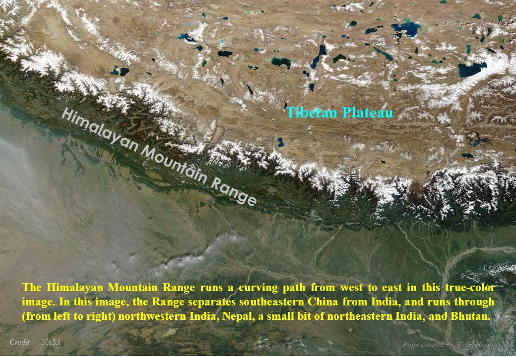 Credit NASA Himalayan Mountain Range Tibetan Plateau The Himalayan Mountain Range runs a curving path from west to east in this true-color image.