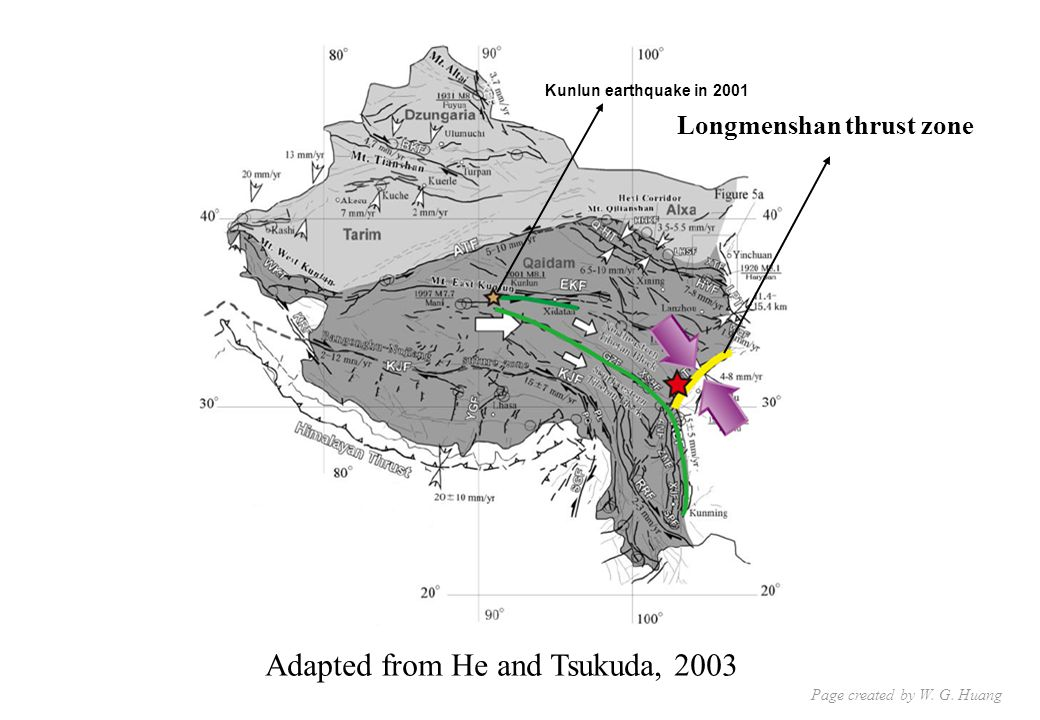 Adapted from He and Tsukuda, 2003 Longmenshan thrust zone Kunlun earthquake in 2001 Page created by W.