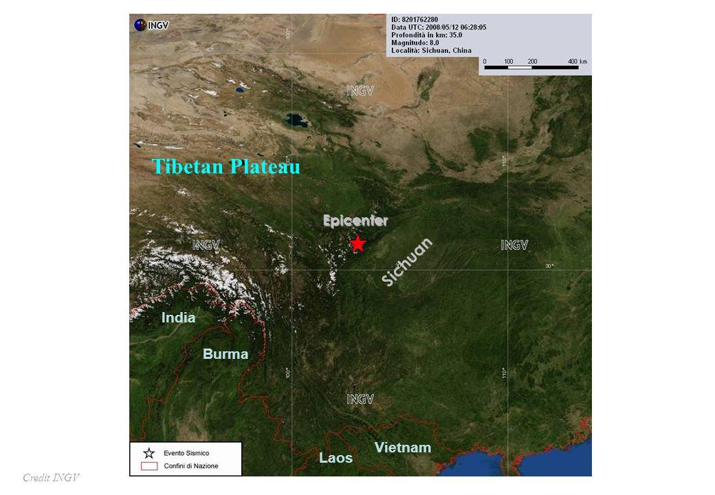 Burma Vietnam India Laos Sichuan Tibetan Plateau Epicenter Credit INGV