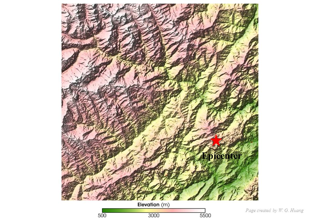 This elevation map shows the region where the earthquake struck.