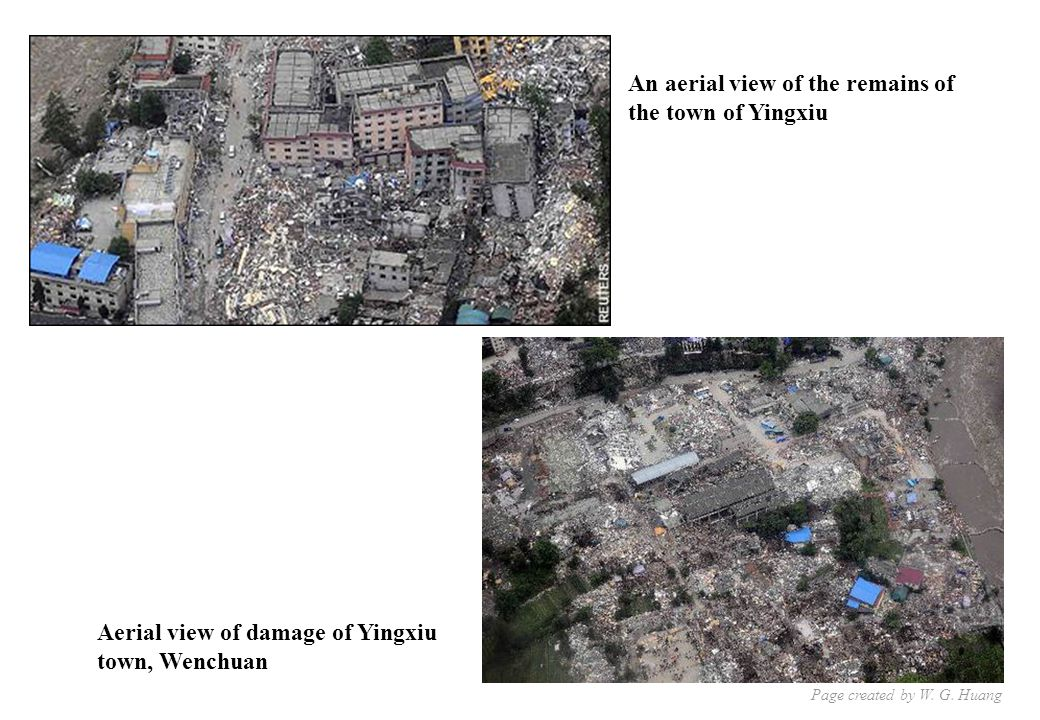 An aerial view of the remains of the town of Yingxiu Aerial view of damage of Yingxiu town, Wenchuan Page created by W.