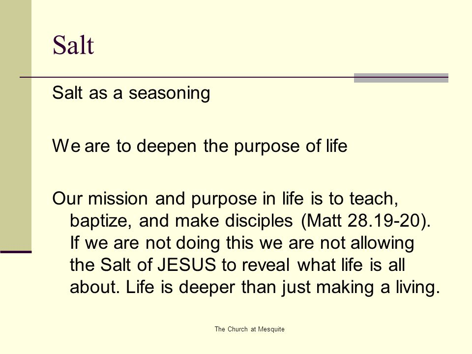 The Church at Mesquite Salt Salt as a seasoning We are to deepen the purpose of life Our mission and purpose in life is to teach, baptize, and make di