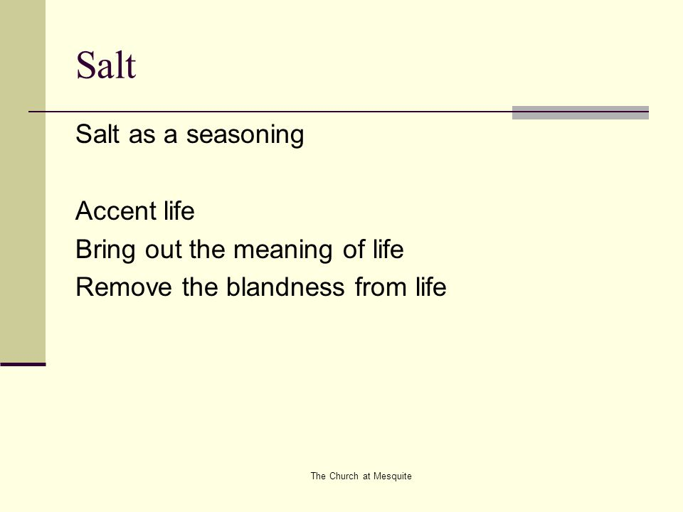 The Church at Mesquite Salt Salt as a seasoning Accent life Bring out the meaning of life Remove the blandness from life