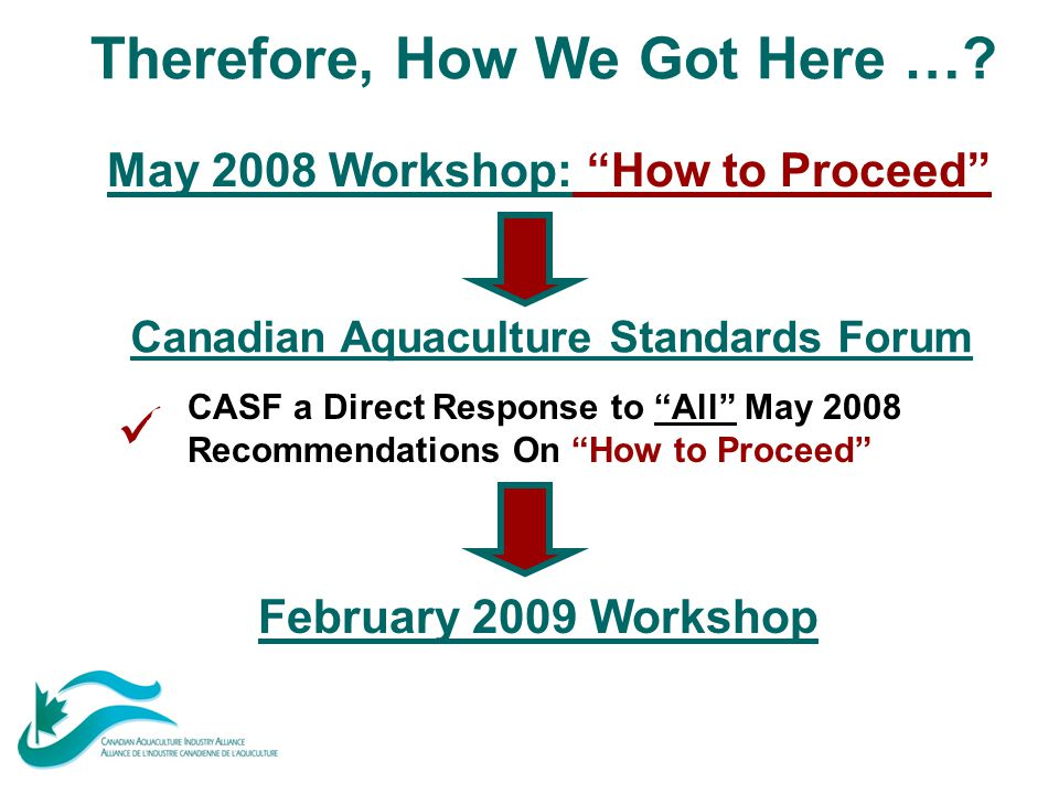 "Canadian Aquaculture Standards Forum Therefore, How We Got Here …? May 2008 Workshop: ""How to Proceed"" February 2009 Workshop CASF a Direct Response t"