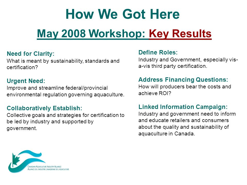 How We Got Here May 2008 Workshop: Key Results Need for Clarity: What is meant by sustainability, standards and certification? Urgent Need: Improve an