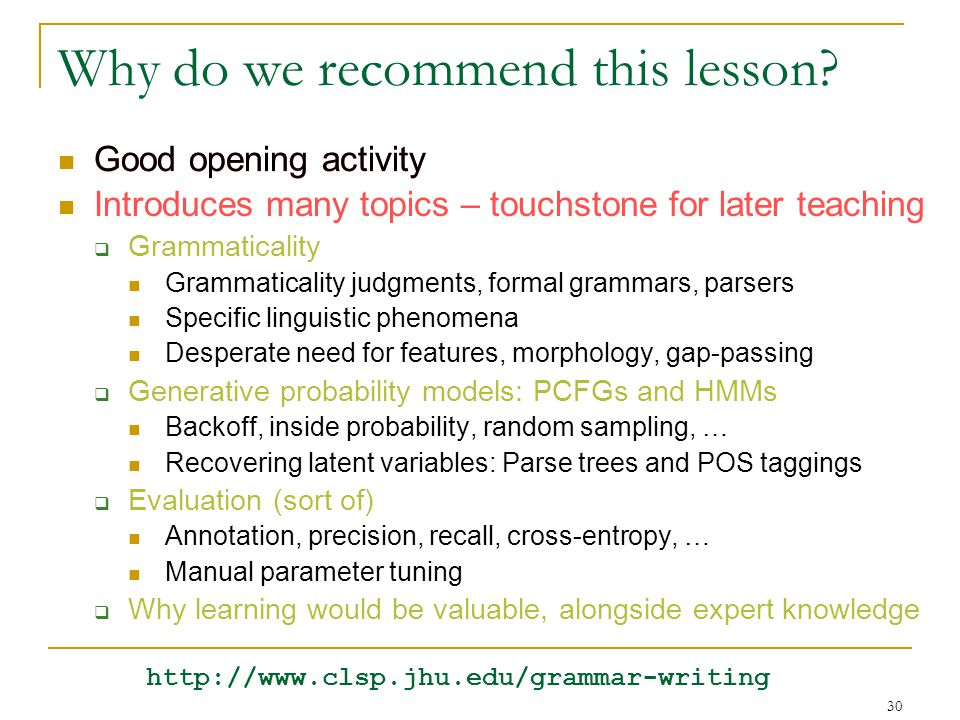 30 Good opening activity Why do we recommend this lesson.