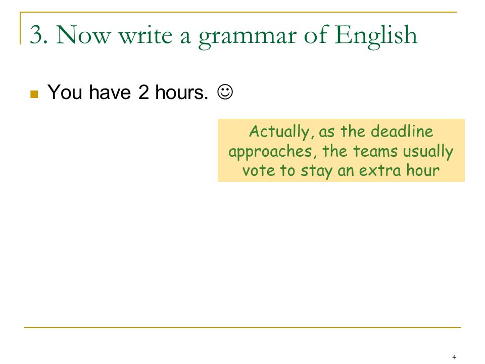 4 3. Now write a grammar of English You have 2 hours.