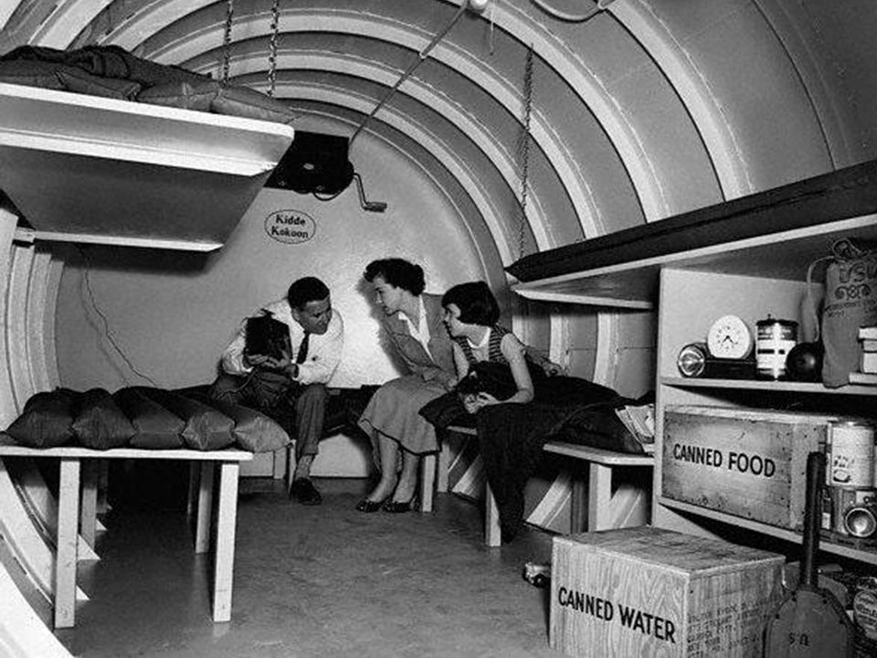 Americans were anxious by the threat of nuclear war & built fallout shelters for protection