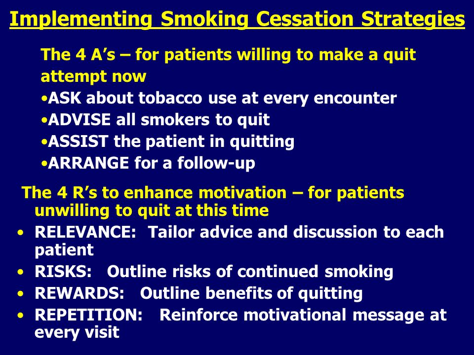 Implementing Smoking Cessation Strategies The 4 R's to enhance motivation – for patients unwilling to quit at this time RELEVANCE: Tailor advice and discussion to each patient RISKS: Outline risks of continued smoking REWARDS: Outline benefits of quitting REPETITION: Reinforce motivational message at every visit The 4 A's – for patients willing to make a quit attempt now ASK about tobacco use at every encounter ADVISE all smokers to quit ASSIST the patient in quitting ARRANGE for a follow-up