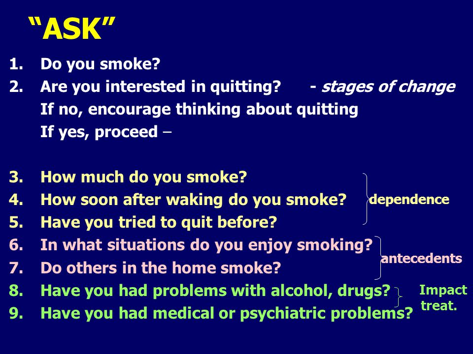 1.Do you smoke. 2.Are you interested in quitting.