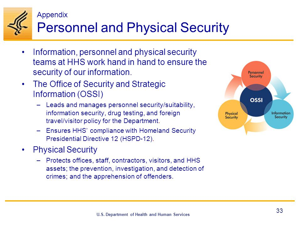 U.S. Department of Health and Human Services Appendix Personnel and Physical Security Information, personnel and physical security teams at HHS work h