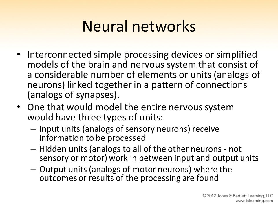 Neural networks Interconnected simple processing devices or simplified models of the brain and nervous system that consist of a considerable number of