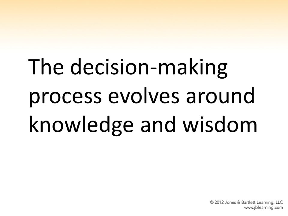 The decision-making process evolves around knowledge and wisdom