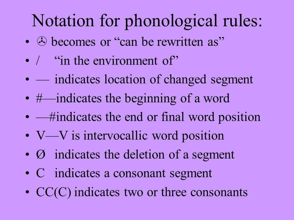 "Notation for phonological rules:  becomes or ""can be rewritten as"" /""in the environment of"" —indicates location of changed segment #—indicates the be"
